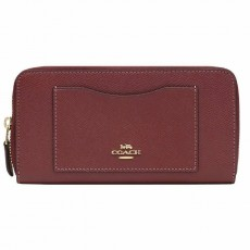 Coach kožená peněženka Accordion crossgrain leather wine F54007