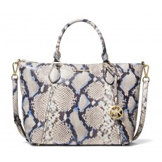 Michael Kors Lenox large python embossed leather kabelka natural combo blue