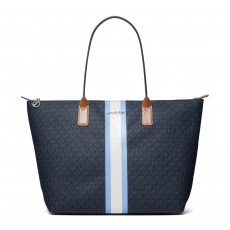 Michael Kors kabelka large logo stripe tote blue multi