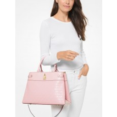 Michael Kors Gramercy large logo debossed satchel powder blush růžová