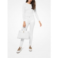 Michael Kors Gramercy large pebble leather satchel white bílá