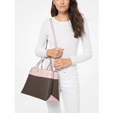 Michael Kors Gramercy large logo and leather satchel powder blush/brown