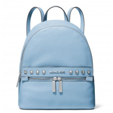 Michael Kors batoh Kenly medium studded pebbled leather light sky modrý