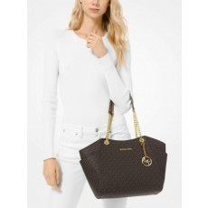 Michael Kors kabelka jet set travel large chain logo brown