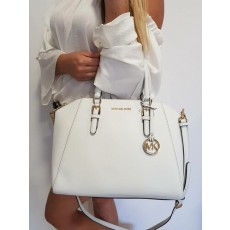 Michael Kors kabelka Ciara large saffiano satchel optic white bílá