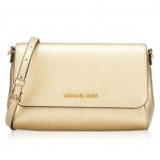 Michael Kors Pouchette medium crossbody saffiano leather pale gold