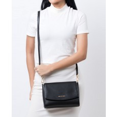 Michael Kors kožená kabelka Ellis medium messenger flap black