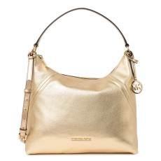 Michael Kors Aria metallic leather hobo kabelka pale gold zlatá