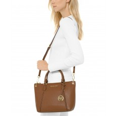 Michael Kors kožená kabelka Sierra medium top zip luggage
