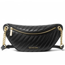 Michael Kors ledvinka Peyton large quilted black gold