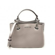Michael Kors kabelka Teagen small pebbled leather messenger pearl grey