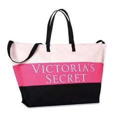 Victoria's Secret plátěná taška extra large pink black striped tote