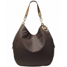 Kabelka Michael Kors Fulton large logo shoulder bag brown