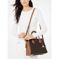 Michael Kors Mercer medium logo belted kabelka hnědá brown