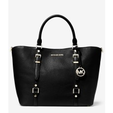Kabelka Michael Kors Bedford Legacy large pebbled leather black silver