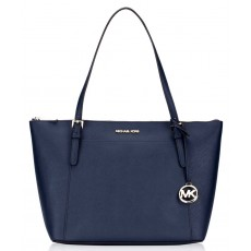 Michael Kors Ciara large saffiano leather navy silver modrá