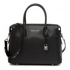 Michael Kors kožená kabelka Mercer medium pebble leather black silver