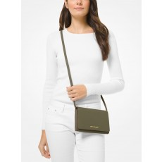 Michael Kors saffiano leather crossbody convertible olive zelená