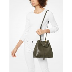 Michael Kors Mercer gallery medium pebbled leather kabelka zelená olive