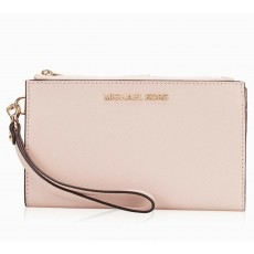 Michael Kors peněženka wristlet saffiano leather double zip blush pink růžová