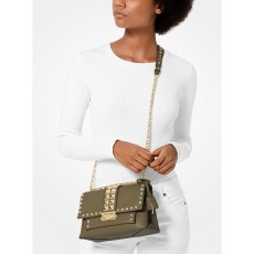 Michael Kors Cece medium studded leather crossbody kabelka zelená army
