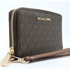 Michael Kors jet set travel peněženka phone case logo brown