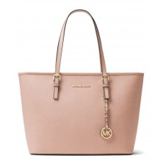 Michael Kors jet set travel saffiano leather top zip kabelka blossom růžová