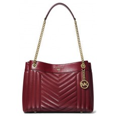 Michael Kors Susan medium quilted leather shoulder bag berry