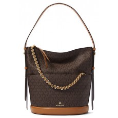 Michael Kors kabelka Reese large logo shoulder bag brown hnědá