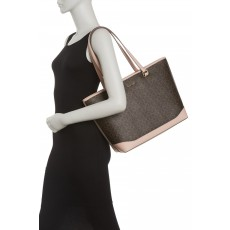 Calvin Klein kabelka Mercy signature top zip brown/pink