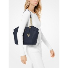 Michael Kors kožená kabelka jet set travel large chain navy silver