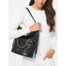 Michael Kors kabelka Reese large pebbled leather shoulder černá