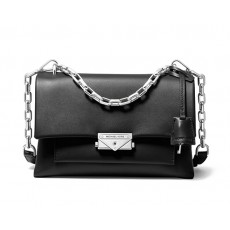 Michael Kors Cece medium leather crossbody kabelka černá black/silver
