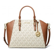 Kabelka Michael Kors Ciara large logo leather satchel vanilla