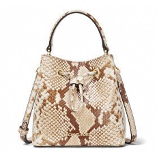Michael Kors kabelka Suri small bucket python embossed leather natural