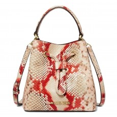 Michael Kors kabelka Suri small bucket python embossed leather coral