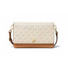 Michael Kors covertible logo and leather crossbody vanilla