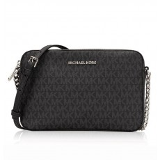 Michael Kors jet set large crossbody signature black silver