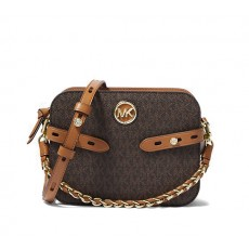 Michael Kors Carmen large crossbody logo brown hnědá