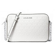 Michael Kors jet set large crossbody kabelka embossed logo white silver