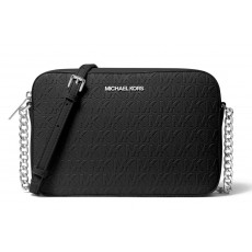 Michael Kors jet set large crossbody kabelka embossed logo black silver