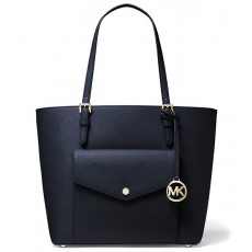 Michael Kors kabelka jet set large leather pocket navy modrá