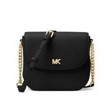 Michael Kors Mott dome leather crossbody černá