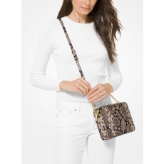 Michael Kors jet set large snake embossed crossbody leather natural