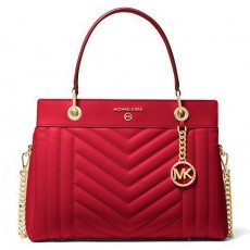 Michael Kors Susan medium quilted leather kabelka bright red červená