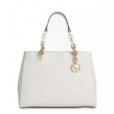 Michael Kors kožená bílá kabelka Cynthia medium leather optic white