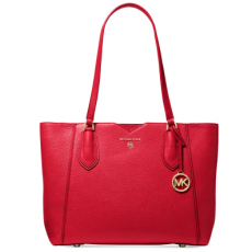 Michael Kors Mae medium pebbled leather kabelka bright red červená