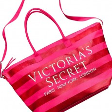 Victoria´s Secret plátěná taška weekender Getaway striped red/pink