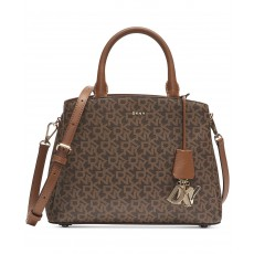 DKNY Paige satchel signature medium mocha/gold